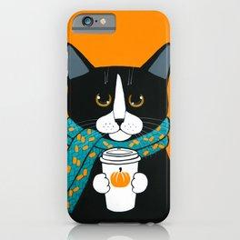 Tuxedo Autumn Pumpkin Coffee Cat iPhone Case