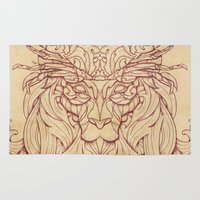 crab Area & Throw Rugs featuring Lion Crab by Mike Koubou