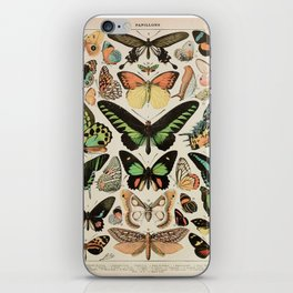 Papillon II Vintage French Butterfly Chart by Adolphe Millot iPhone Skin