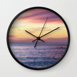 Pink Sunset over Carmel Beach Wall Clock