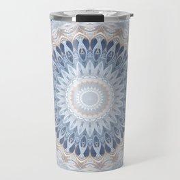 Serenity Mandala in Blue, Ivory and White on Textured Background Travel Mug