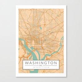 Washington D.C. Map - Color Canvas Print