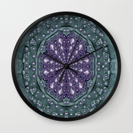 Star and flower mandala in wonderful colors Wall Clock