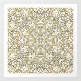 Golden Mandala in Cream Colored Background Art Print