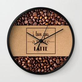 """I Love You a Whole Latte"" Coffee Sleeve & Beans Wall Clock"