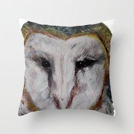 Barn Owl Impressionist Fine Art Throw Pillow