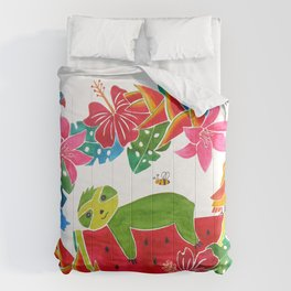 Sloth on a watermelon Comforters