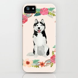 husky floral wreath spring dog breed pet portrait gifts iPhone Case