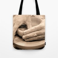 arsenal Tote Bags featuring Working Hands by Brian Raggatt