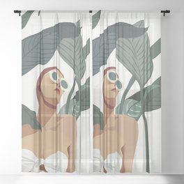 The Retro Swimer Sheer Curtain
