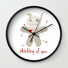 Thinking of You Voodoo Doll Goth Wall Clock