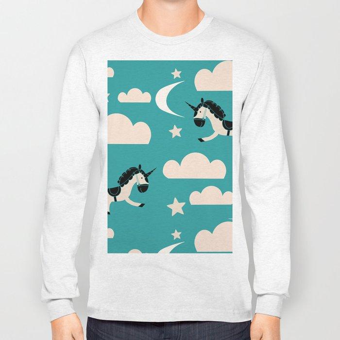 Unicorn Teal Long Sleeve T-shirt