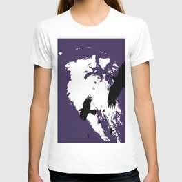 Odin Portrait and Silhouette of Ravens Vector Art T-shirt