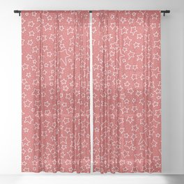 Stars and Stars and Stars on Red Sheer Curtain