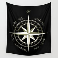 lotr Wall Tapestries featuring Not all those who wander are lost - J.R.R Tolkien - 2 by Augustinet