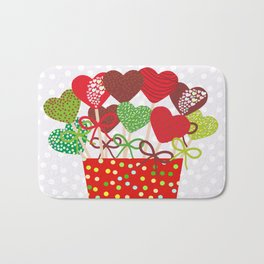 Christmas design Cake pops set with bow gray background with snowflakes. Bath Mat