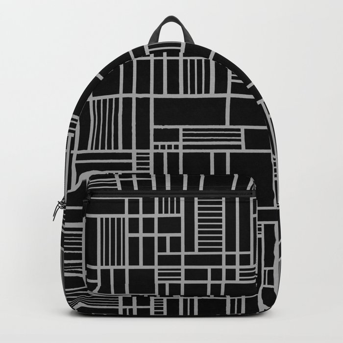 Map Lines Silver Backpack