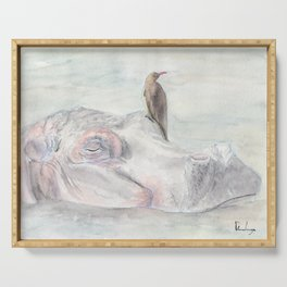 """Watercolor Painting of Picture """"Hippopotamus"""" Serving Tray"""