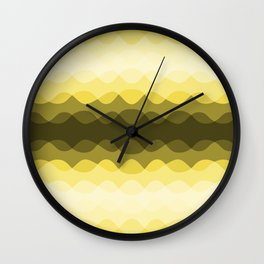 Overlapping Wavy Lines Pattern Pantone 2021 Color Of The Year Illuminating 13-0647 Wall Clock