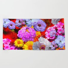 PINK-YELLOW-WHITE FLOWERS ON RED Beach Towel