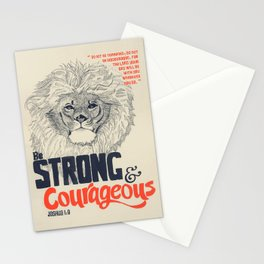 Strong & Courageous Lion - Joshua 1:9 Stationery Cards