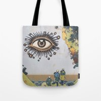 third eye Tote Bags featuring Third Eye  by CUTS