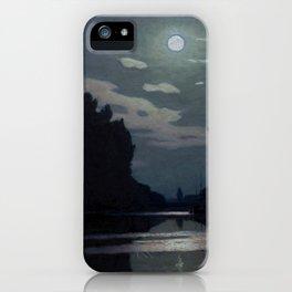 Charles Guilloux - Lever de Lune sur un Canal - Moonrise on a Canal iPhone Case