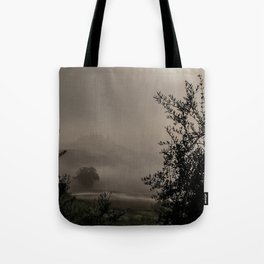 A mysterious foggy morning Tote Bag
