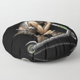 Old Cave Man On Electric Scooter Floor Pillow