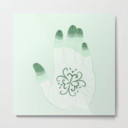 Henna Hand - Green Thumb Metal Print