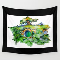 hobbit Wall Tapestries featuring hobbit hole by Jonny Moochie