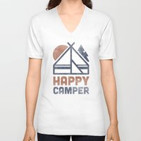 backpack V-neck T-shirts featuring Happy Camper by Zeke Tucker