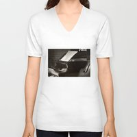 music notes V-neck T-shirts featuring Grand Piano and Music Notes by cinema4design