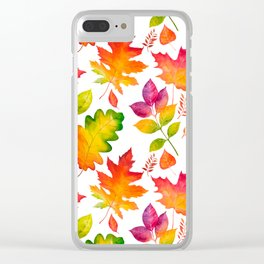 Fall Leaves Watercolor - White Clear iPhone Case