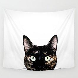 Peeking Cat Wall Tapestry