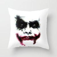 the joker Throw Pillows featuring Joker by Lyre Aloise