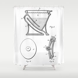 Toilet Patent - Bathroom Art - Black And White Shower Curtain