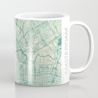 vintage map Mugs featuring Amsterdam Map Blue Vintage by City Art Posters