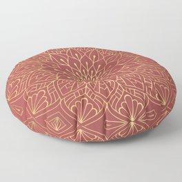 Gold Mandala Pattern On Cherry Red Floor Pillow