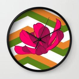 Chevron & Flower #1 Wall Clock