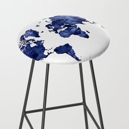 Dark navy blue watercolor world map Bar Stool