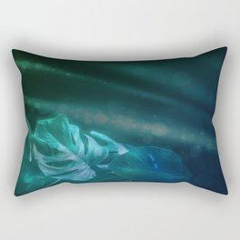 Midnight Jungle Magic Monstera Leaves Rectangular Pillow