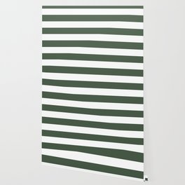 Gray-asparagus - solid color - white stripes pattern Wallpaper