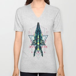 Space Ship sacred geometry Unisex V-Neck