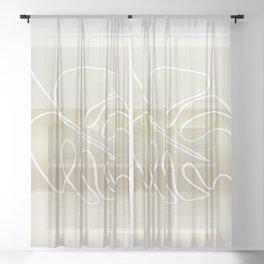 Calm Monstera Still Life Sheer Curtain