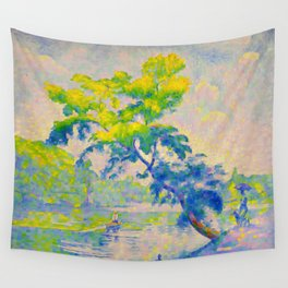 Bending Tree 1905 Henri-Edmond Cross Neo-Impressionism Pointillism Oil Painting Wall Tapestry