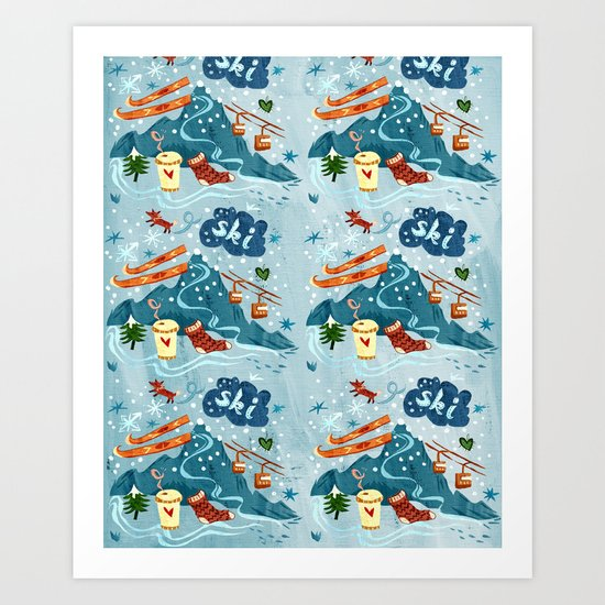 Ski Pattern Art Print