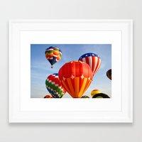 hot air balloons Framed Art Prints featuring Vibrant Hot Air Balloons by Nicolas Raymond