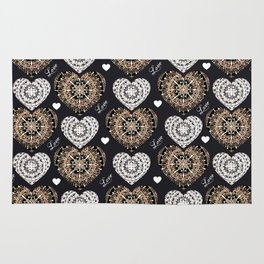 Rose-Gold, Silver, and Black Mandala Hearts with Love Rug