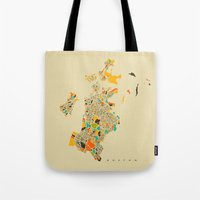 boston map Tote Bags featuring Boston map by Nicksman